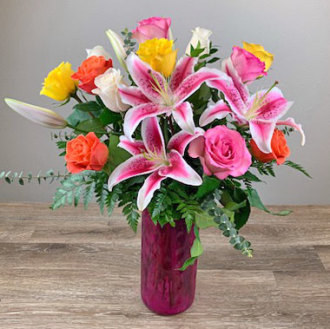 Timeless Jewel 1 Dozen Roses with Lilies