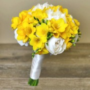 Yellow Freesia and White Garden Rose Bridal Bouquet