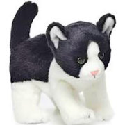 Plush Black and White Chubby Cat