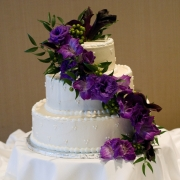 Cascading Purple Wedding Cake Flowers