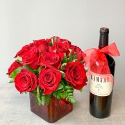 Red Roses with Cabernet Sauvignon