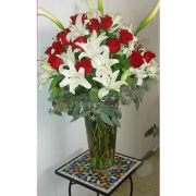 Red Roses and White Lilies Arrangement