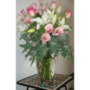 Pink Roses and White Lilies Arrangement