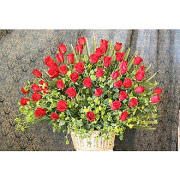 4 Dozen Red Roses in a Basket