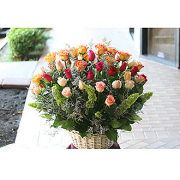 Mixed Roses Basket Arrangement