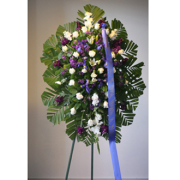Royal White and Blue Floral Spray