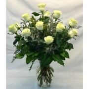 One Dozen Vased White Roses