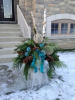 Blue Festive Winter Urn