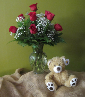 12 Roses Arranged with Plush Bear and Baby\'s Breath