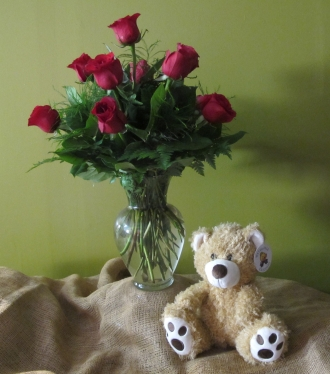 12 Roses Arranged with Bear