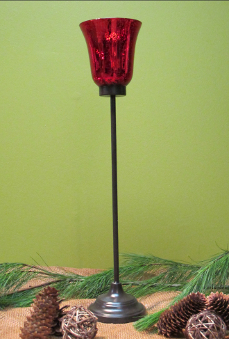 Red Pedistal Candle Holder 22in