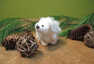 Medium White Hedgehog Tree Ornament