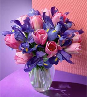 Pink Tulip and Iris Bouquet
