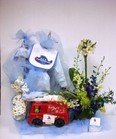 Welcome Baby Boy Basket with Flowers