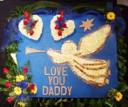 Angel with 2 hearts , wall mounted