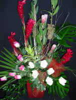 Arrangement of Red Gingers and mixed colors of Roses