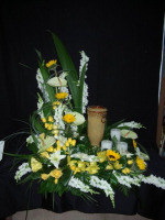 Yellow and White Urn Arrangement