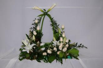 White Urn Arrangement with candle