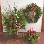 Trio of Winter Urn, Wreath & Centrepiece