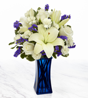 Order BLUE Vase with White FLOWERS by Sunnyslope Floral for SAME DAY Delivery in greater Grand Rapids and Metro Area