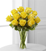 Bouquet of a DOZEN YELLOW ROSES in a gift vase sent TODAY LOCALLY BY SUNNYSLOPE FLORAL DELIVERING in Grand Rapids Metro Area