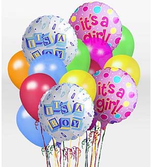 Order mylar and latex balloons for a baby oy or girl for same day delivery to the hospital, home or business local or nationwide with Sunnyslope Floral