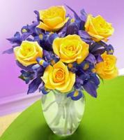 Iris & Yellow Rose Bouquet - With Vase Deluxe