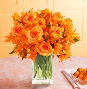 Orange Burst Bouquet with Vase