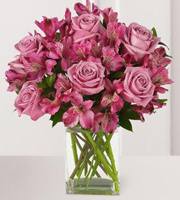 Purple Passion Rose & Lily Bouquet with Vase