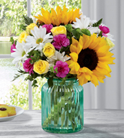 Bright colorful spring flower bouquet for Easter delivery with daisies, yellow miniature roses & hot pink, lime green & yellow, Sunnyslope Floral