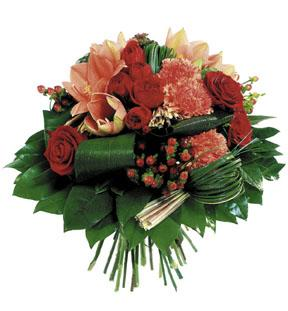 Round Bouquet in Red & Orange Colours