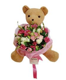Special Occasion Bouquet with bear