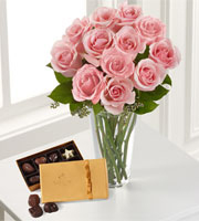 The FTD® Pink Rose & Godiva Bouquet