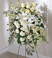 Find white flower sympathy sprays for same day delivery in Grand Rapids, Rockford, Holland, Cutlerville, Byron Center and Zeeland by Sunnyslope Floral