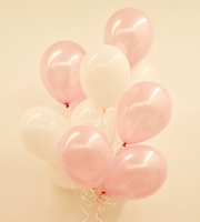 Dozen Latex Balloons Pink and White