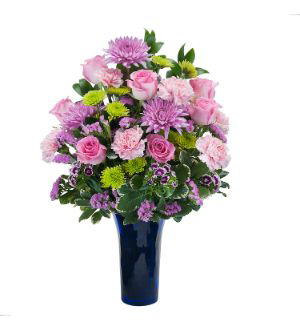 Send PINK, PURPLE, and GREEN Pastel FLOWERS Today in Cobalt Blue Vase with Grand Rapids Florist Sunnyslope Floral