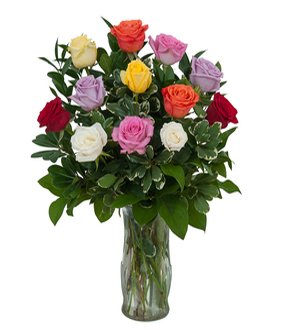 Send a DOZEN mixed color ROSES in a textured vase to Greater Grand Rapids Area with Sunnyslope Floral with SAME DAY Delivery