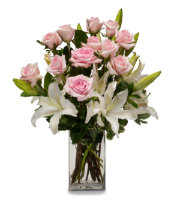 Order PINK ROSES and WHITE LILIES Elegant FLORAL Arrangement with SAME DAY DELIVERY by Grand Rapids Florist Sunnyslope Floral