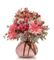 Order PINK FLOWERS PINK VASE for SAME DAY Delivery in Grand Rapids including Holland, Ada, and Rockford by Sunnyslope Floral