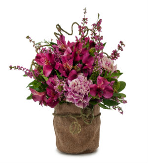 Send ALSTROEMERIA and CARNATIONS in BURLAP Container with SAME DAY Delivery by Grand Rapids Local Florist Sunnyslope Floral
