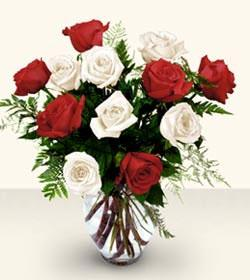 The FTD® Premium Long Stemmed Red & White Rose Bouquet