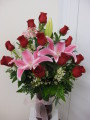 Forever my Love Bouquet One Dozen Red Roses With Pink Stargazer Lily