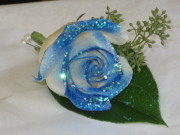 The Shimmer Blue Rose  Boutonniere