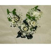 Black Tipped Rose Corsage & Boutonniere