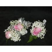 2 Pink Rose Corsage & Boutonniere