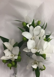 White Orchids with Coffee Berry Corsage and Boutonnniere
