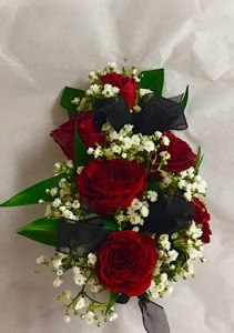 Red Rose Corsage With Black Trim
