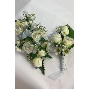 Tipped Matching Corsage and Boutonniere