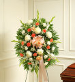 Peach, White & Orange Sympathy Standing Spray