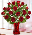 Blooming Love Red roses in Red Vase